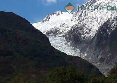 glacier by mountain in the south island of new zealand